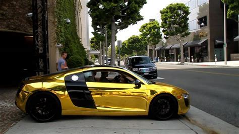 TYGA'S GOLDEN CHROME AUDI R8 DRIVE BY!!   YouTube