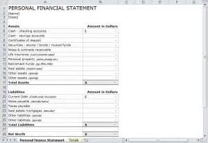 personal financial statement template free personal financial statement template personal financial