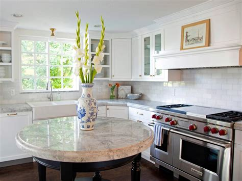 Circular Kitchen Island kitchen with marble island a small round custom island provides a