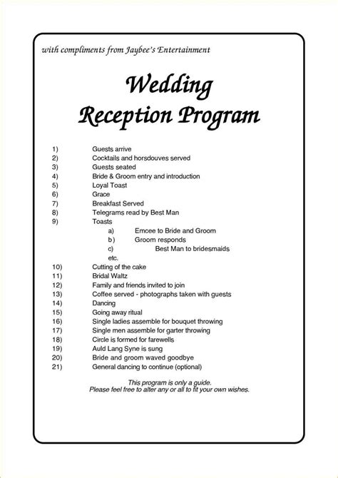 sle wedding ceremony program template wedding program flow reception wedding ideas 2018