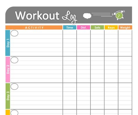 printable workout planner 4 best images of free printable weekly workout planner
