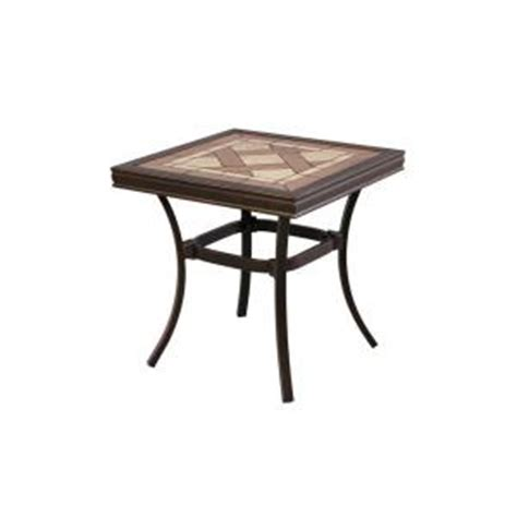 home depot patio table hton bay pine valley tile top patio side table