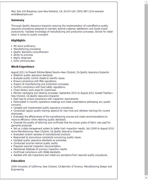 Quality Resume Skills by 1 Quality Assurance Inspector Resume Templates Try Them