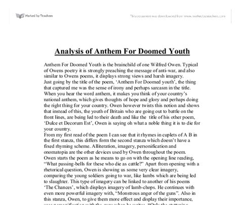 Anthem Essays by Analysis Of Anthem For Doomed Youth Gcse Marked By Teachers