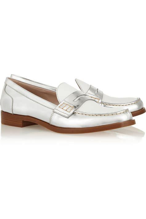 miu miu loafers miu miu two tone metallic leather loafers in white