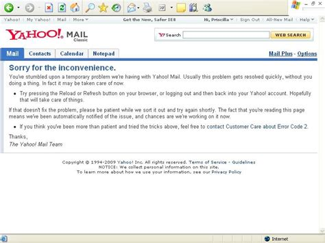 yahoo mail layout issues ramith s blog yahoo mail and it s error code 2