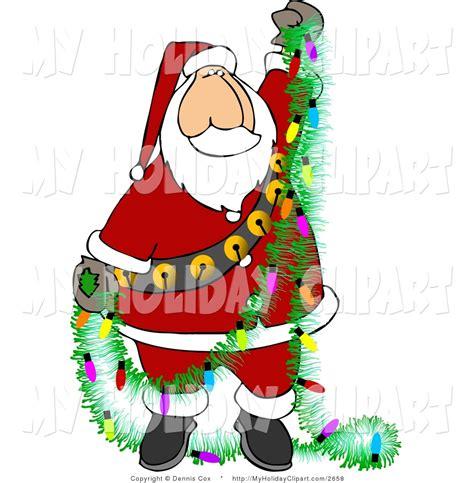 light bulbs santa clip of santa claus decorating the house with a