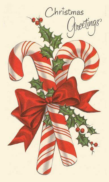 double candy canes   christmas  vintage christmas cards vintage christmas