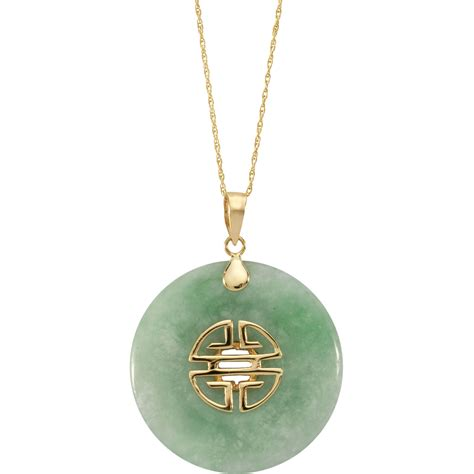 10k yellow gold dyed green jade 18 in donut pendant