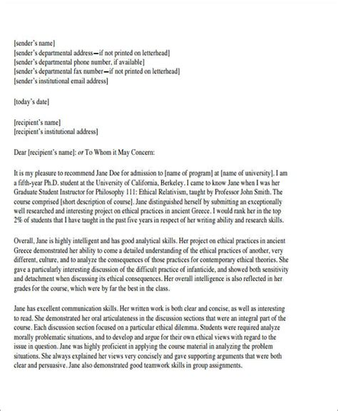 college reference letter sle college reference letter 6 exles in pdf word