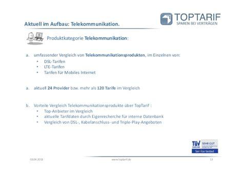 Kfz Versicherung Vergleich Toptarif by Toptarif De Unternehmenspr 228 Sentation 2013