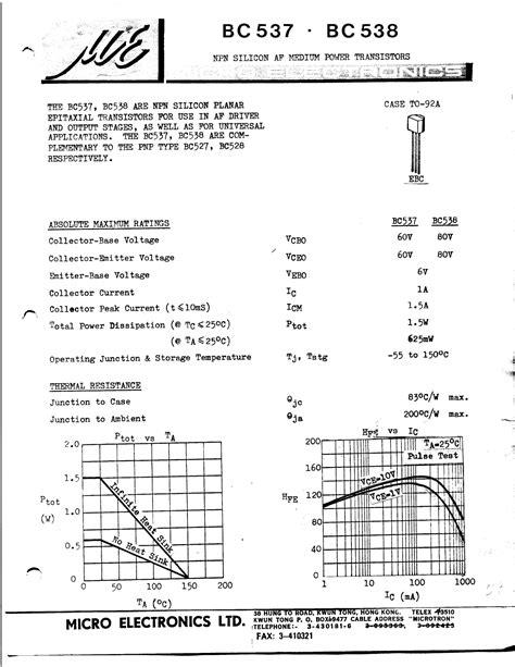 datasheet transistor npn bc548 bc548 datasheet npn silicon rf small signal transistor