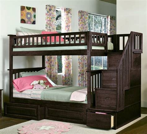 Cream Wooden Bunk Bed Connected With Desk Also Storage