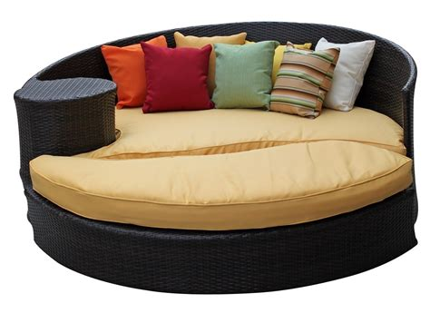 Ottoman Daybed Taiji Outdoor Rattan Daybed W Ottoman In Brown W Orange
