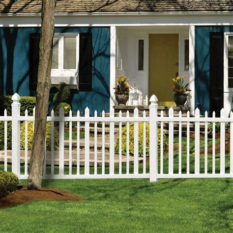 Picket Fence Sections Home Depot by Shop Gatehouse Arborley 4 Ft X 8 Ft White Stockade Picket