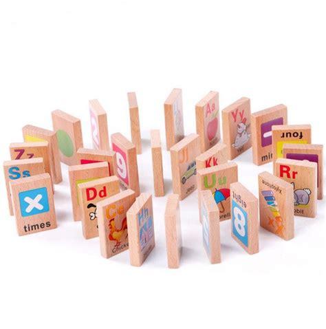 Mainan Anak Kayu Wood Educational Toys Anak Rabbit Time Clock mainan kayu pendidikan surat digital domino hewan 28 pcs