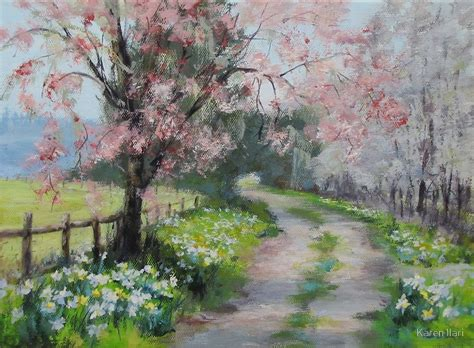 spring painting ideas quot original acrylic landscape painting spring walk quot by