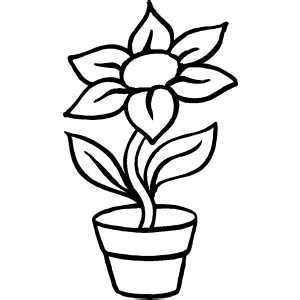 flower pot coloring page flower in pot coloring page