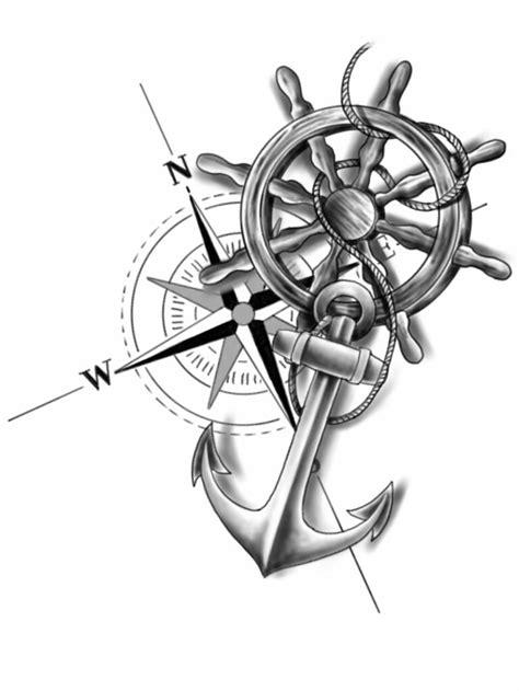 drawn anchor anchor wheel pencil and in color drawn