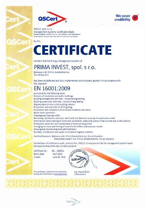 design certificate authority certification according to en 16001 qscert