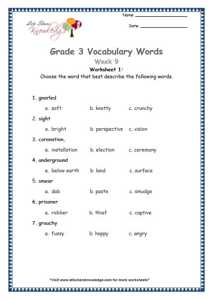 Grade 9 Vocabulary Worksheets by Grade 3 Vocabulary Worksheets Week 9 Lets Knowledge