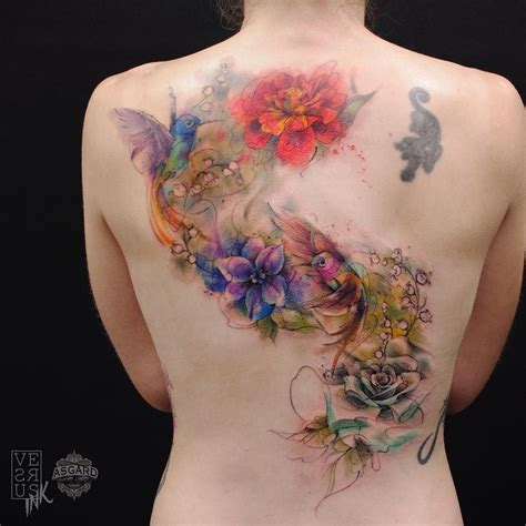 tattoo flowers on back 100 awesome back tattoo ideas watercolor tattoo and bird