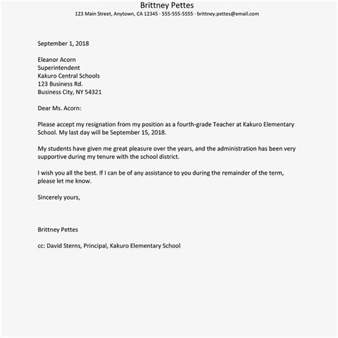 example of a resignation letter teacher resignation letters 30