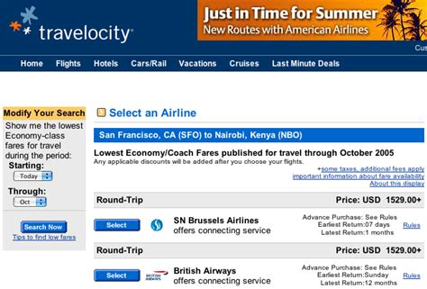 cheap airline tickets travelocity