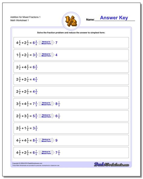 addition of dissimilar fraction worksheet adding and