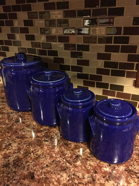 cobalt blue kitchen canisters cobalt blue ceramic canister set bean pot style