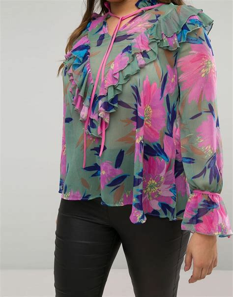 Asos Ruffle Front Blouse asos blouse in floral print with ruffle front lyst
