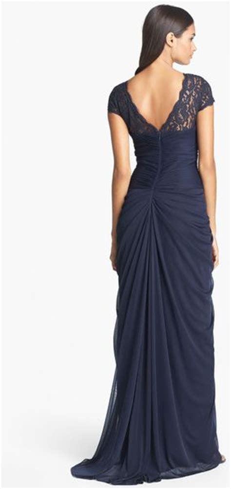 adrianna papell lace yoke drape gown adrianna papell lace yoke drape gown in blue ink lyst
