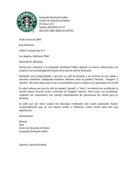 carta disculpa al cliente ejemplo carta a starbucks