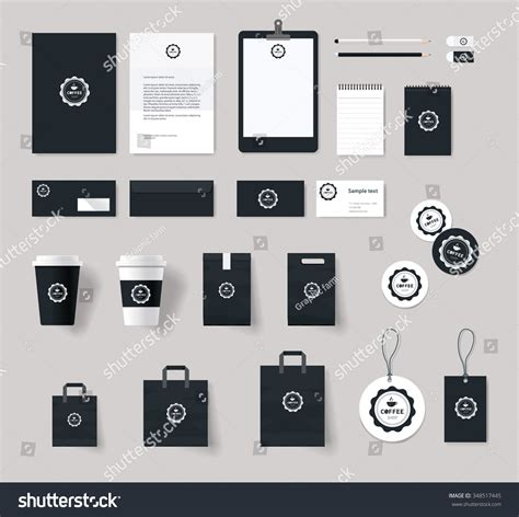 Corporate Branding Identity Mock Template Coffee Stock Vector 348517445 Shutterstock Branding Package Template