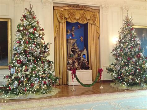 the christmas decorations in the east room of the white the nativity scene or creche in the east room has been