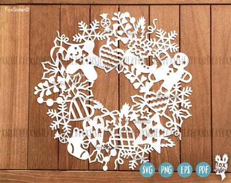 christmas svg wreath blank circle frame cutting file