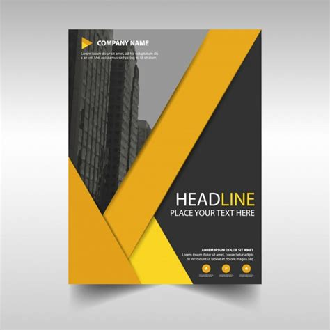 yellow business brochure template with geometric shapes black and yellow geometric business brochure vector free