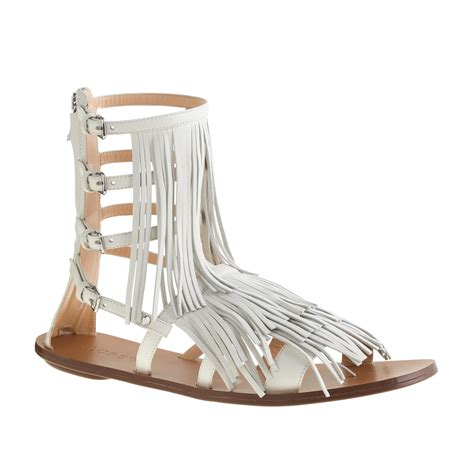 gladiator sandals with fringe j crew fringe gladiator sandals in lyst