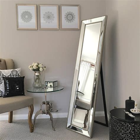 bedroom mirror high quality cheval mirror silver beaded frame bevelled