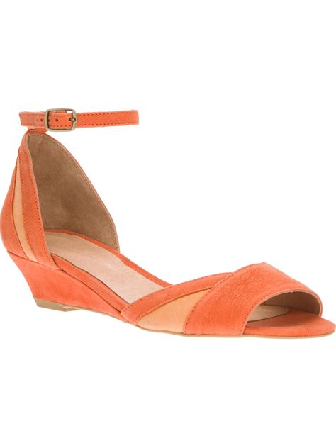 sendal wedges santai l56 orange sessun low wedge sandal in orange lyst