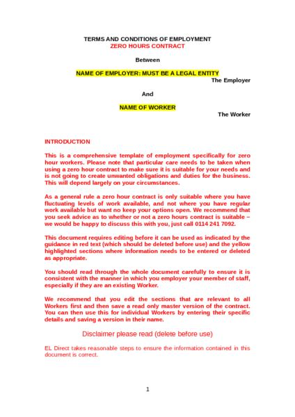zero hours contract template to