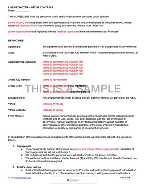 Live Promoter Artist Contract Template Artist Investor Agreement Template