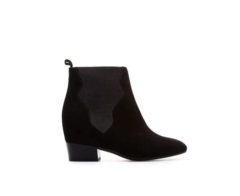 zara ankle boots with interior wedge and elastic panels in