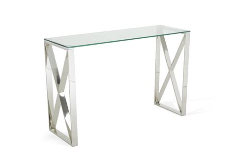 stainless steel console table serene astra console table in polished stainless steel and