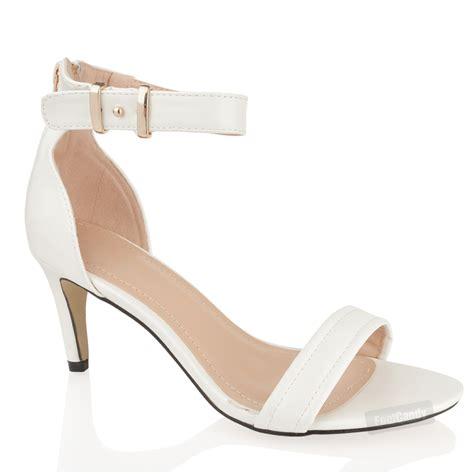 mid heel white sandals womens mid heel ankle wedding zip