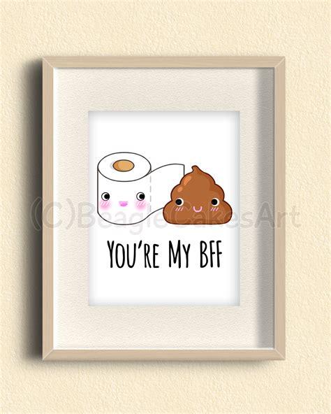 funny bathroom paintings best friends giclee illustration print kawaii poop art bathroom decoration gift for