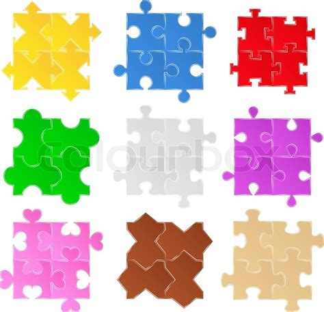 jigsaw pattern vector set of vector jigsaw puzzle patterns stock vector
