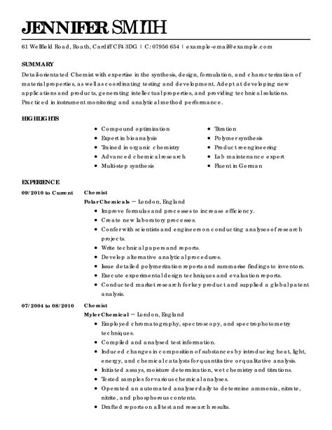 Science Resume by Science Resume Exles Science Sle Resumes Livecareer