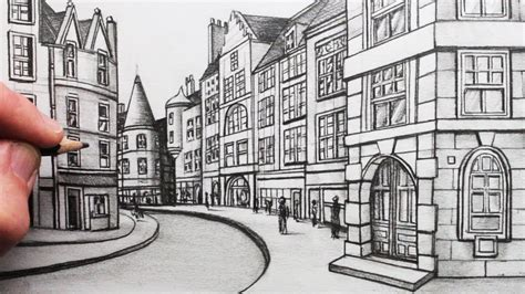 2 Drawings In 1 by How To Draw Buildings In Perspective A In