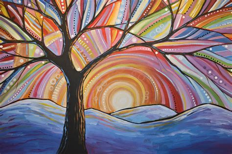 Wall Murals Los Angeles original abstract tree landscape painting mountain